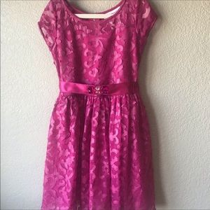 American Girl pink floral/leather dress